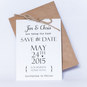 'Tying The Knot' Save The Date Card - wedding stationery