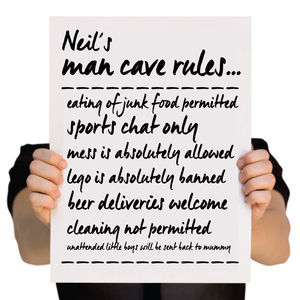 Personalised Man Cave Rules