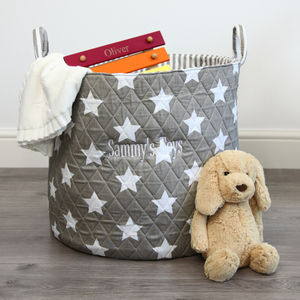Personalised Grey Star Storage Bag - children's room