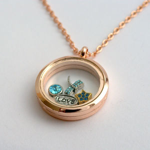 Rose Gold Floating Charms Memory Locket