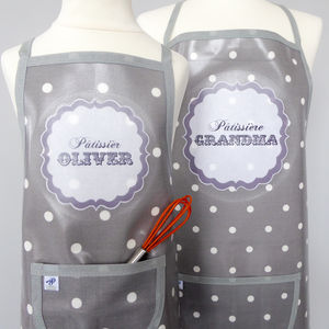 Personalised 'Pâtissière' Oilcloth Apron - children's cooking