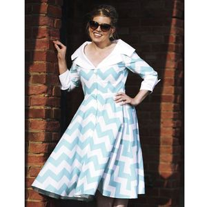 Jackie 1950s Style Chevron Print Dress - dresses
