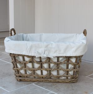 Willow Lined Laundry Basket - bedroom
