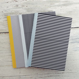 Mixed Noir Striped Notebook Set - writing