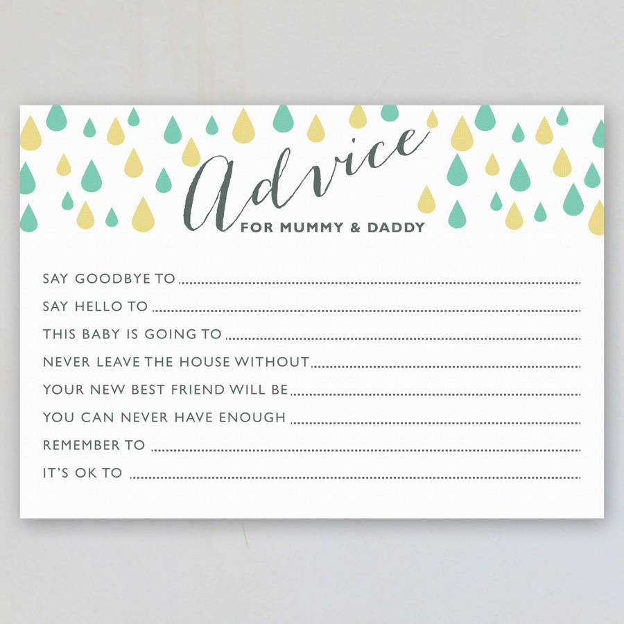 Baby shower advice cards pack of eight by intwine design baby shower advice cards pack of eight kristyandbryce Gallery
