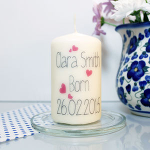 Personalised Baby Girl Candle