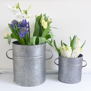 Two Zinc Tub Planters With Handles