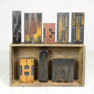 Vintage Letterpress Printers Blocks X Large - room decorations