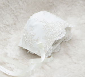 Charlotte Lace Christening Bonnet - christening wear