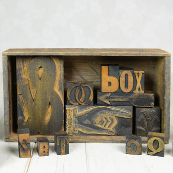Vintage Letterpress Printers Blocks Medium