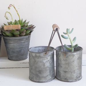 Zinc Mini Twin Pot With Handle - spring planting