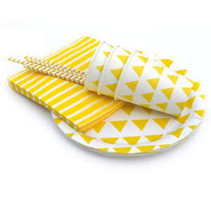Yellow Triangle Party Tableware Set - children's parties