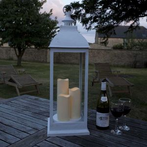 Battery Operated Candle Lantern / Giant Cream