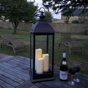Battery Operated Candle Lantern / Giant Copper - outdoor lights