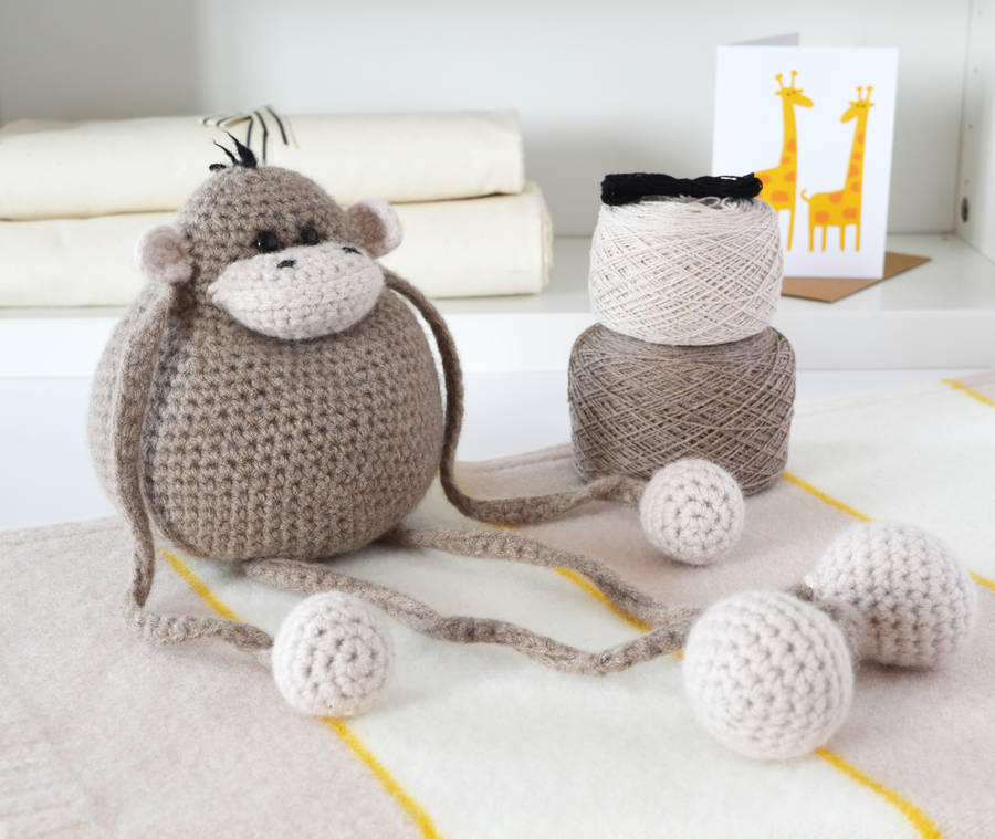 monkey crochet kit by warm pixie diy notonthehighstreet.com