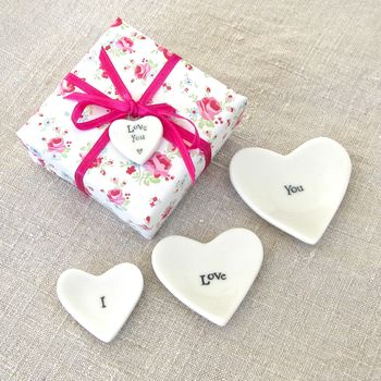 'I Love You' Porcelain Heart Dishes ~ Gift Wrapped