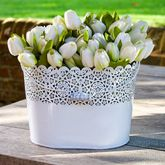 Lacework Metal Oval Flower Pot Planter - home