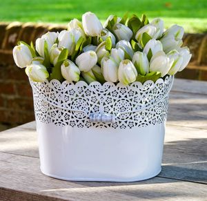 Lacework Metal Oval Flower Pot Planter - fresh flowers