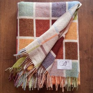 Natural Multi Block Throw - blankets & throws