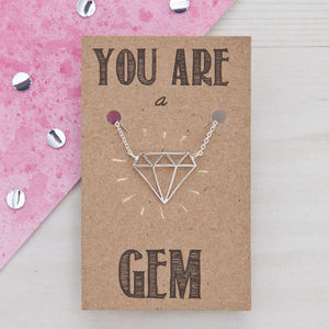 You Are A Gem Silver Friendship Necklace - for friends