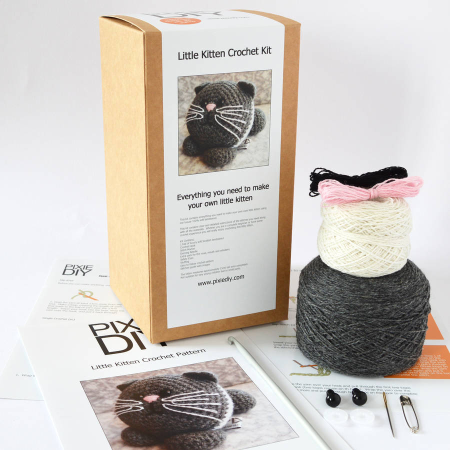 Crochet Kits : kitten learn to crochet kit by warm pixie diy notonthehighstreet.com
