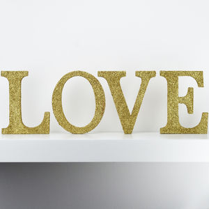 Freestanding Glitter Love Sign - door plaques & signs