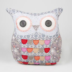 Vintage Owl Cushion In Purple