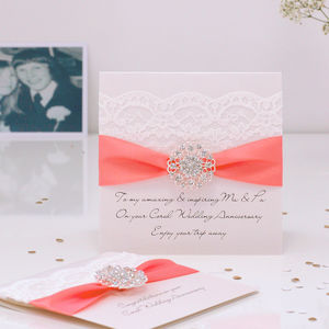 Opulence Coral Wedding Anniversary Card - wedding, engagement & anniversary cards