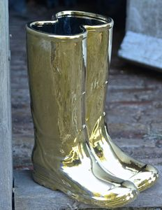 Gold Wellington Boots Porcelain Umbrella Stand - storage & organisers