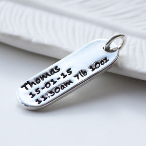 New Baby Personalised Silver Tag Shaped Charm - christening jewellery