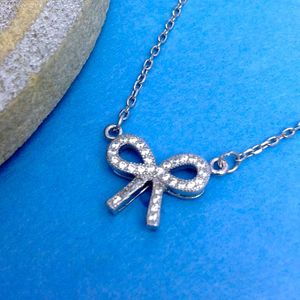 Micro Pave Crystal Bow Silver Neckalce - for children
