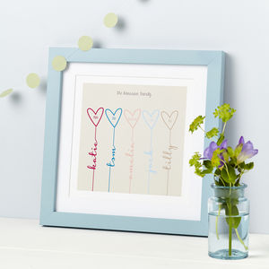 Personalised Family Hearts Print - inspired by family