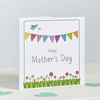 Bunting And Flowers Mother's Day Card