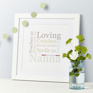 My Gran/Nana/Mum Personalised Typographic Print - winter sale