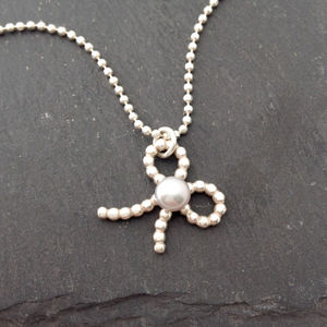 Bow Pearl Silver Pendant - for children