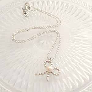 Bow Pearl Silver Pendant
