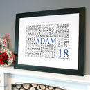 black framed print in white with blue, black & grey text