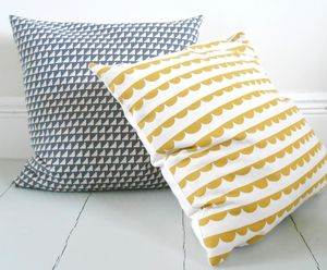 Half Rounds In Mustard, Handmade Feather Cushion