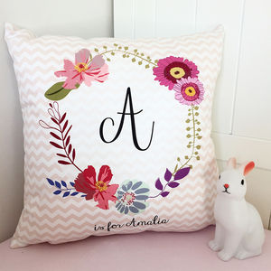 Personalised Floral Monogram Cushion - less ordinary children's room