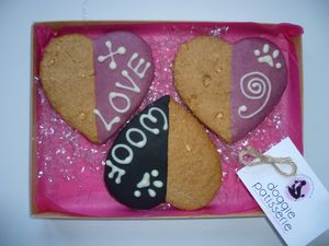 Three Large Heart Shaped Dog Cookies - dogs