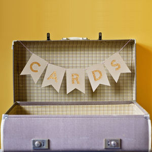 Glitter And Kraft Wedding 'Cards' Bunting