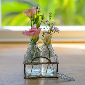 Vintage Style Mini Four Bottles In A Wire Basket - whats new