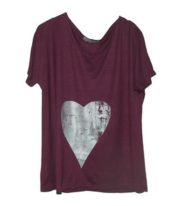 Purple And Silver Heart Hand Printed Tee - tops & t-shirts