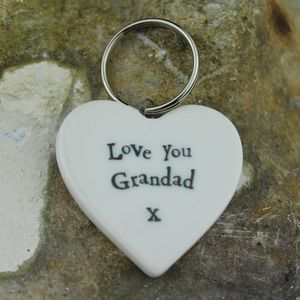 Porcelain 'Love You Grandad' Heart Keyring