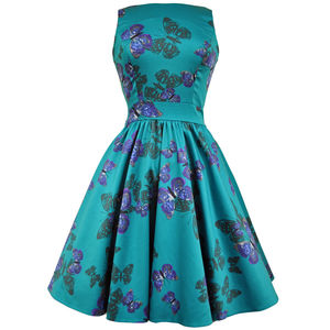 1950s Vintage Style Teal Butterfly Tea Dress - dresses