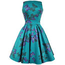 1950s Vintage Style Teal Butterfly Tea Dress