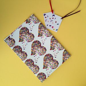 Butterfly Heart Gift Wrap And Tag - wrapping paper