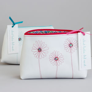 Personalised Leather Daisy Make Up Bag