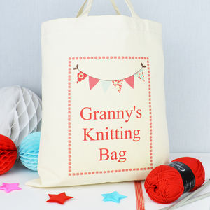 Personalised 'Granny's' Knitting Bag - knitting kits