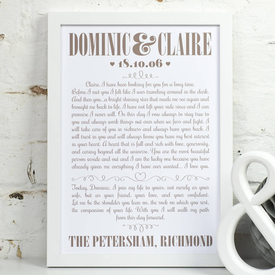 Medium Latte On White Personalised Wedding Vows Print